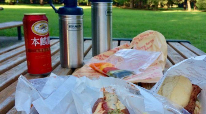 美味しいホットドッグを持って公園ピクニック